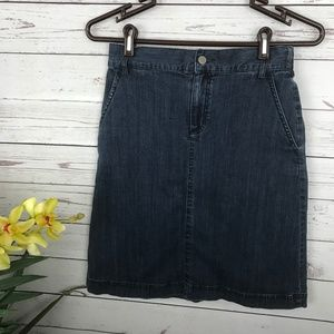 Shade Jean Denim Knee Length Skirt - Y8